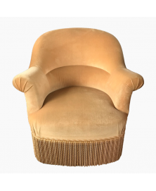 Fauteuil crapaud velours moutarde