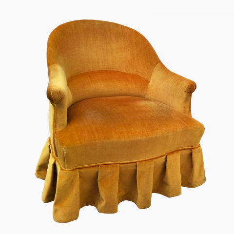 Fauteuil crapaud velours jaune moutarde