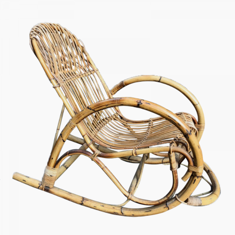 Rocking-chair en bambou et rotin vers 1960