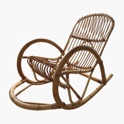 Rocking-chair en rotin années 60