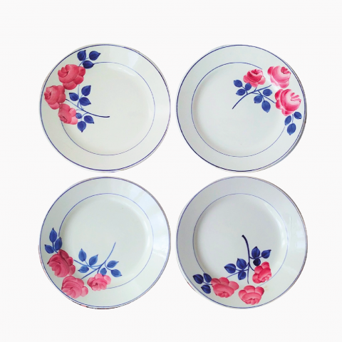 Lot de 4 assiettes roses
