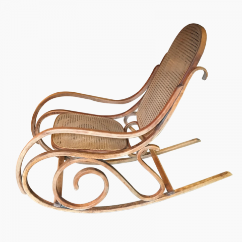 Rocking chair bois courbé et cannage Thonet