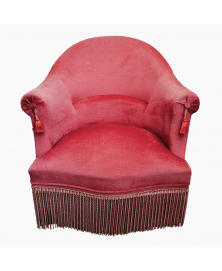 Fauteuil crapaud velours rose