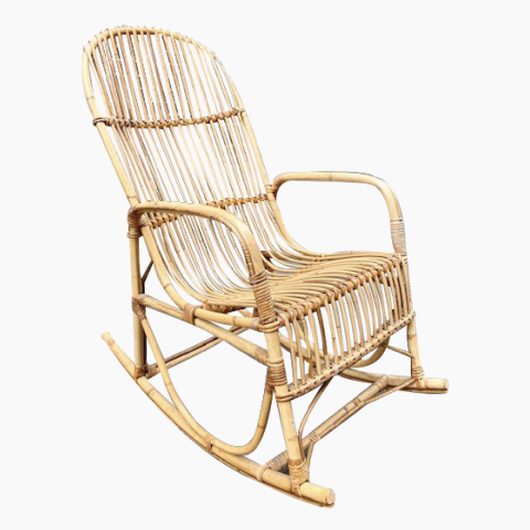 Rocking-chair en rotin vers 1960