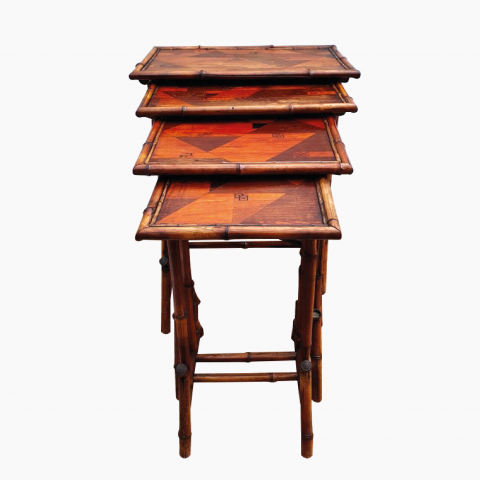 Ensemble de 4 Tables Gigognes En Bambou Maison Perret Et Vibert 1900