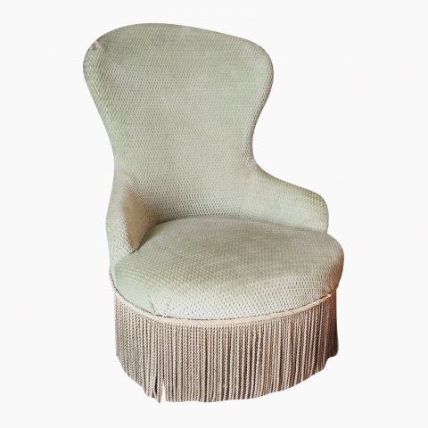 Fauteuil chauffeuse crapaud vert mint