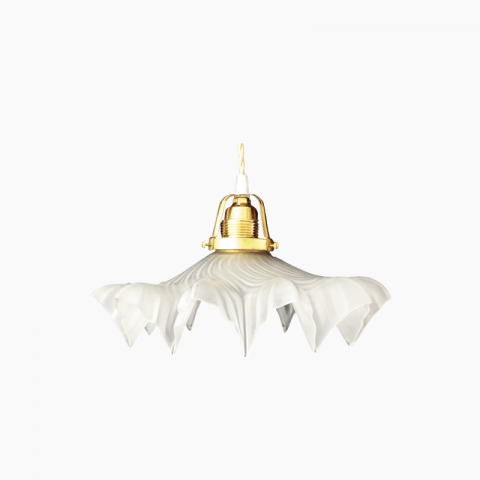 Lustre, suspension dentelle, suspension jupon en verre transparent avec collerette.